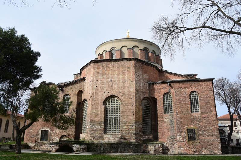 Edifice of ancient Hagia Irene church in Istanbul royalty free stock photos