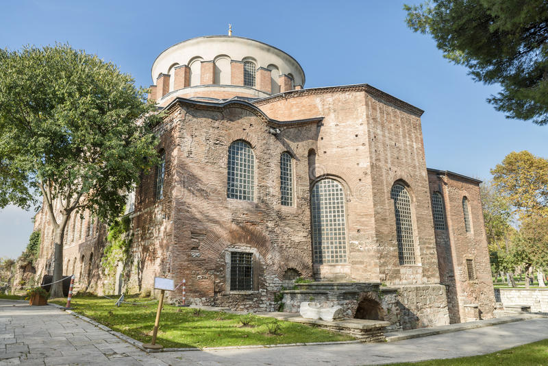 Hagia Irene, Istanbul, Turkey. ISTANBUL,TURKEY, NOVEMBER 11, 2015: Exterior shot of Hagia Irene, an eastern Orthodox church located in the outer courtyard of royalty free stock photos