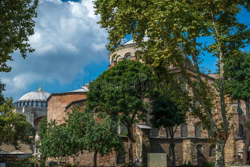 Holy Irene Iglesia in Istanbul, Turkey. The Hagia Irene Orthodox Church. These landmarks are preserved Byzantine Temples in Istanbul, Turkey stock photo