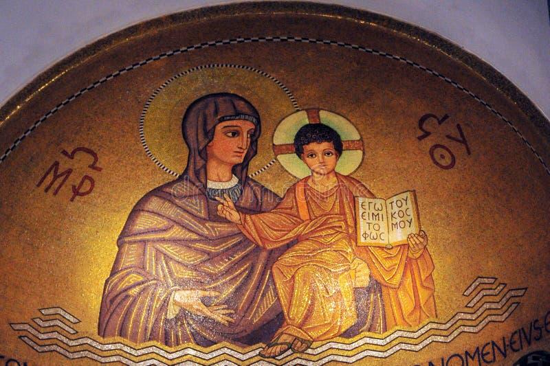 Hagia Maria Sion Abbey kyrka i Mount Zion israel jerusalem arkivfoto