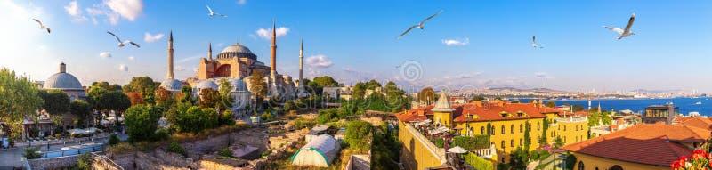 Hagia Sofia, old Turkish Hammam and the Bosphorus, beautiful Istanbul panorama stock photo