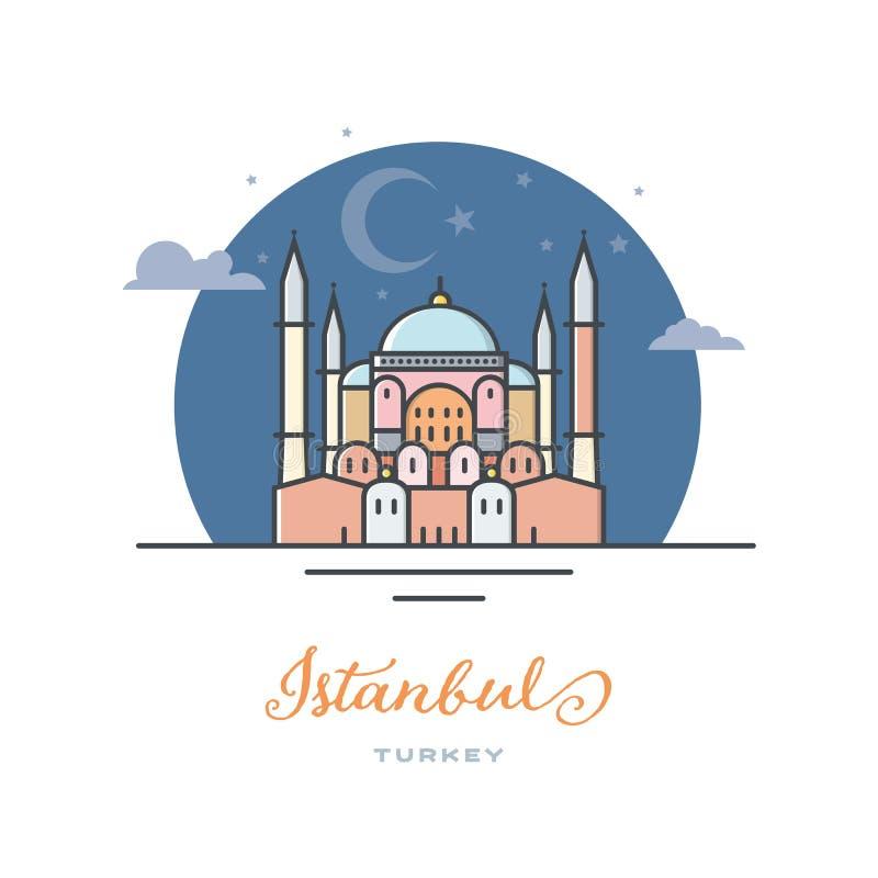 Hagia Sophia στη Ιστανμπούλ, Τουρκία, επίπεδη διανυσματική απεικόνιση απεικόνιση αποθεμάτων