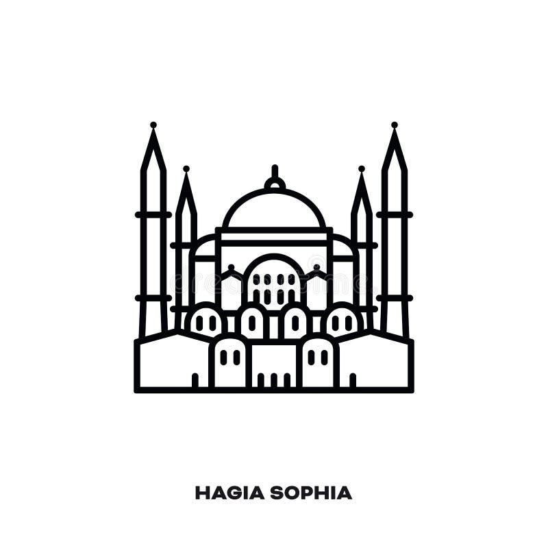 Hagia Sophia στη Ιστανμπούλ, Τουρκία, διανυσματικό εικονίδιο γραμμών ελεύθερη απεικόνιση δικαιώματος