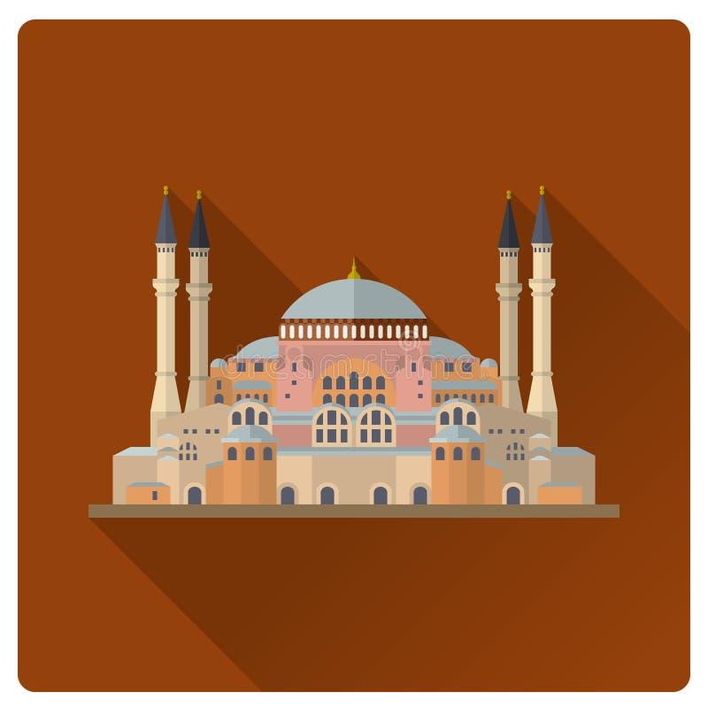 Hagia Sophia της Ιστανμπούλ στο επίπεδο διανυσματικό illustra σκιών σχεδίου μακρύ διανυσματική απεικόνιση