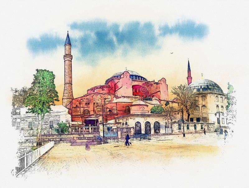 Hagia Sophia, Стамбул, исламская историческая мечеть и музей Эскиз акварели бесплатная иллюстрация