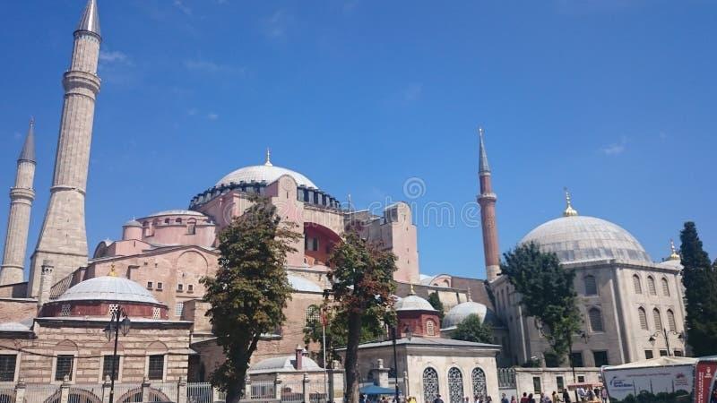 Куполы и минареты Hagia Sophia в старом городке Стамбула, Турции, на заходе солнца стоковое изображение rf