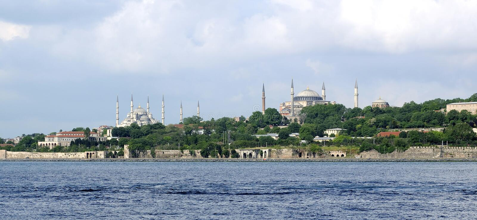 Hagia Sophia and Blue mosque in istanbul royalty free stock photos