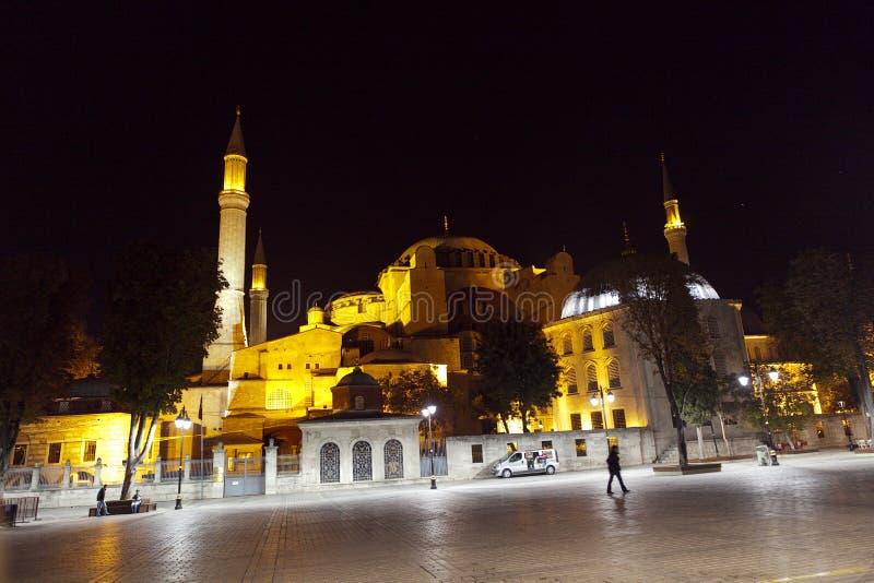Aya Sophia in Istanbul Turkey at night royalty free stock images