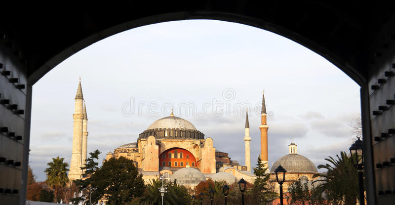 Hagia Sophia da porta azul da mesquita fotos de stock