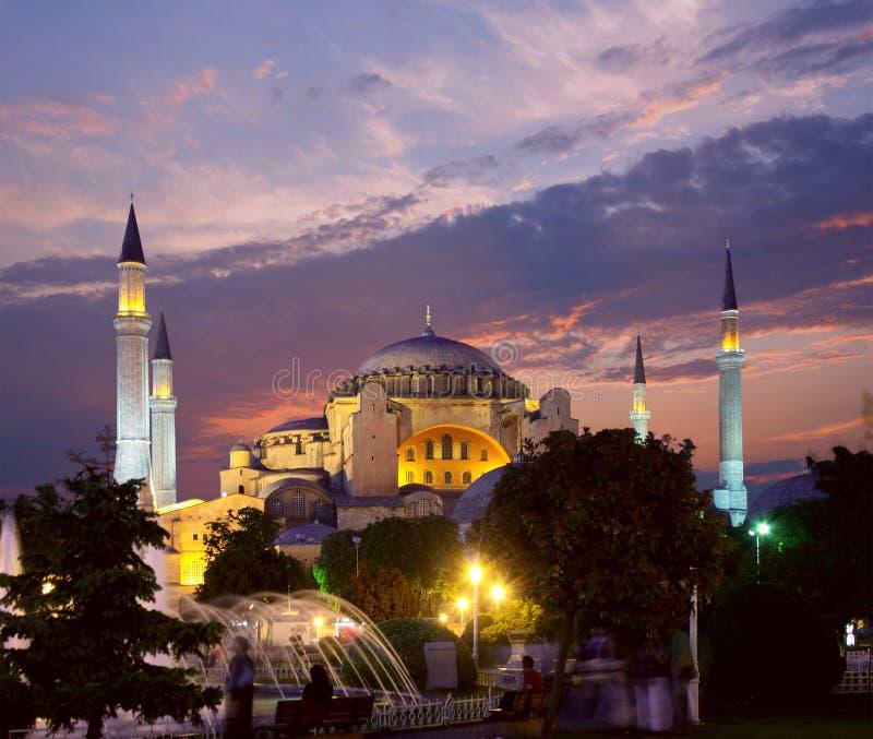 Hagia Sophia em Istambul na noite imagem de stock