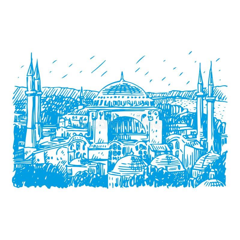 Hagia Sophia en Estambul, Turquía ilustración del vector