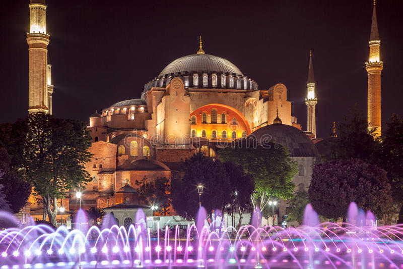 Hagia Sophia and fountain royalty free stock photo