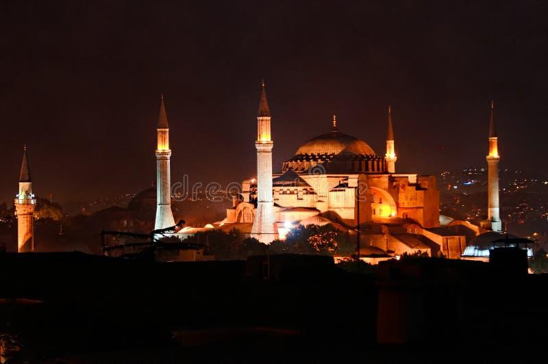 Hagia Sophia i natt royaltyfri fotografi