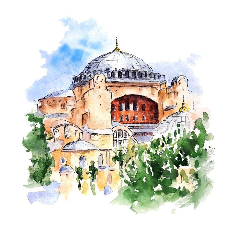 Hagia Sophia, Istanbul, die T?rkei Handgemalte Skizze des Aquarells auf weißem Hintergrund lizenzfreie abbildung
