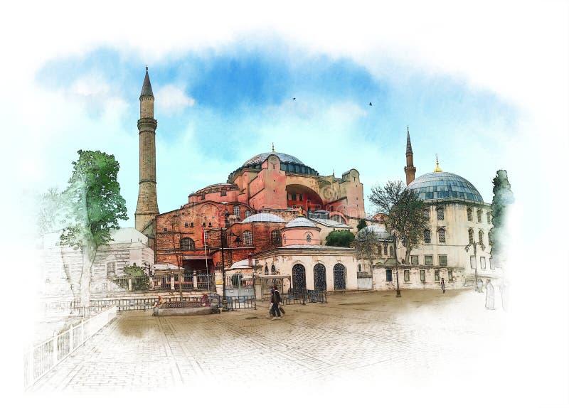 Hagia Sophia, Istanbul, islamische historische Moschee und Museum Aquarell-Skizze lizenzfreie stockbilder