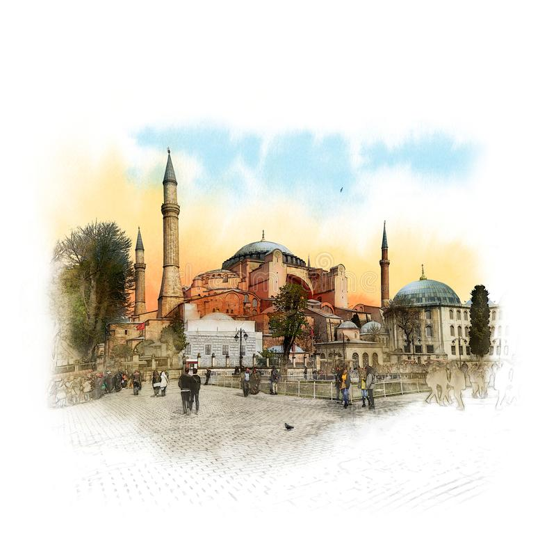 Hagia Sophia, Istanbul, islamische historische Moschee und Museum Aquarell-Skizze lizenzfreies stockbild