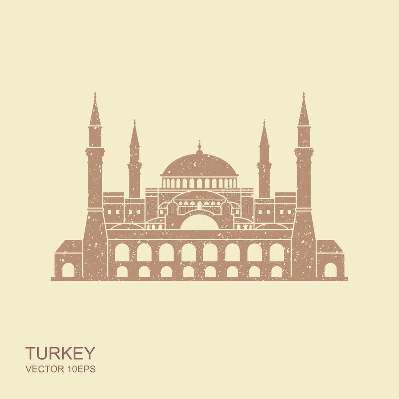 Hagia Sophia in Istanbul, Turkey. Vector, illustration with scuffed effect royalty free illustration