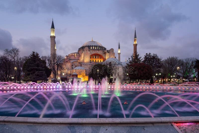 Hagia Sophia meczet przy nocą, Istanbuł, Turcja fotografia stock