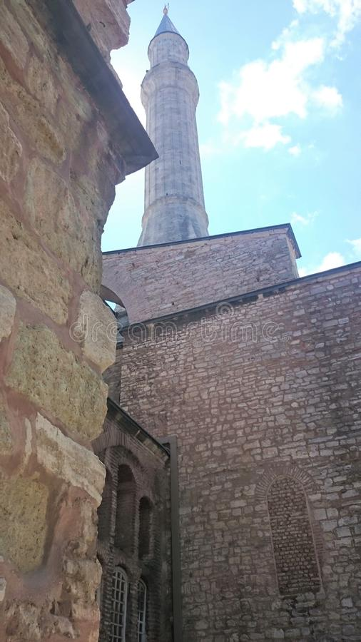 Hagia Sophia minarety w starym miasteczku Istanbu? i kopu?y, Turcja, na zmierzchu zdjęcia royalty free