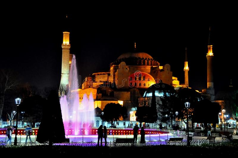 Download Hagia Sophia at night editorial stock photo. Image of dome - 39512553