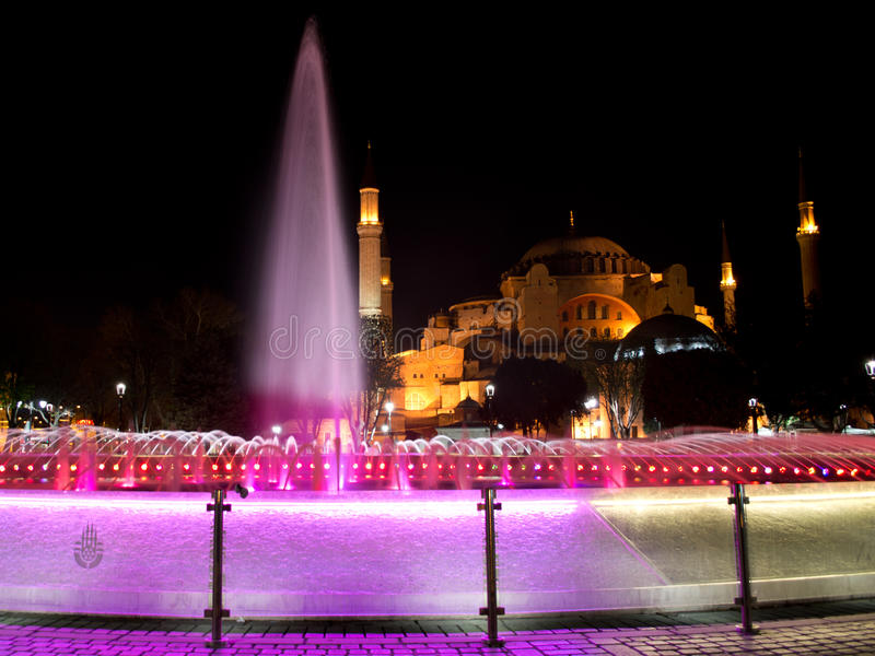 Hagia Sophia at night royalty free stock images