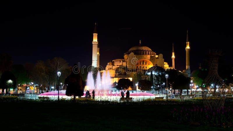 Hagia Sophia at night stock image