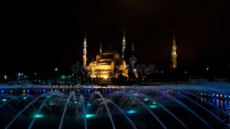 Hagia Sophia på natten arkivfoton