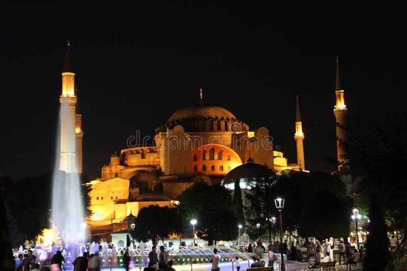 Hagia Sophia på natten arkivbilder