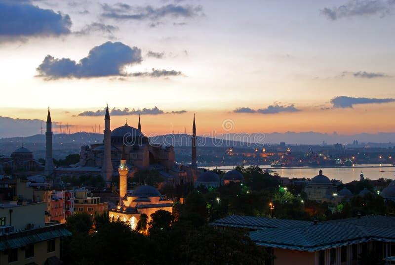 Hagia Sophia pelo alvorecer imagens de stock