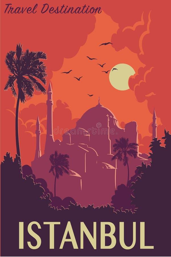 Hagia Sophia rocznika plakata szkarłat royalty ilustracja