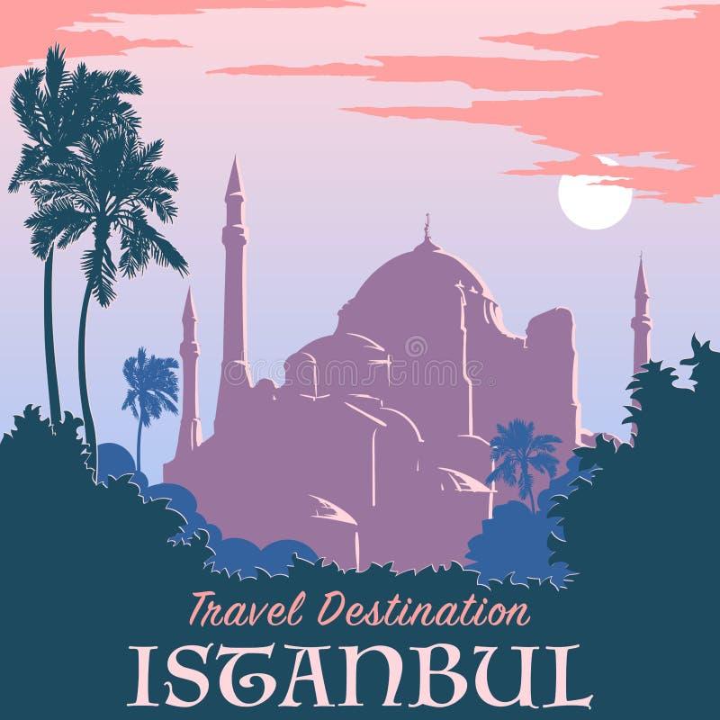 Hagia Sophia rocznika plakata zmierzch royalty ilustracja