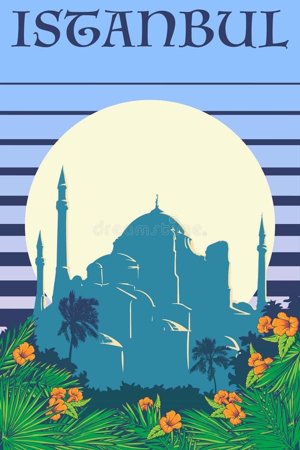 Hagia Sophia rocznika plakatowi błękitni lampasy ilustracja wektor