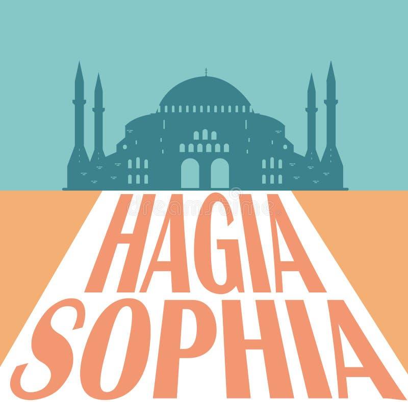 Hagia Sophia sylwetka, Istanbuł Turcja również zwrócić corel ilustracji wektora ilustracja wektor