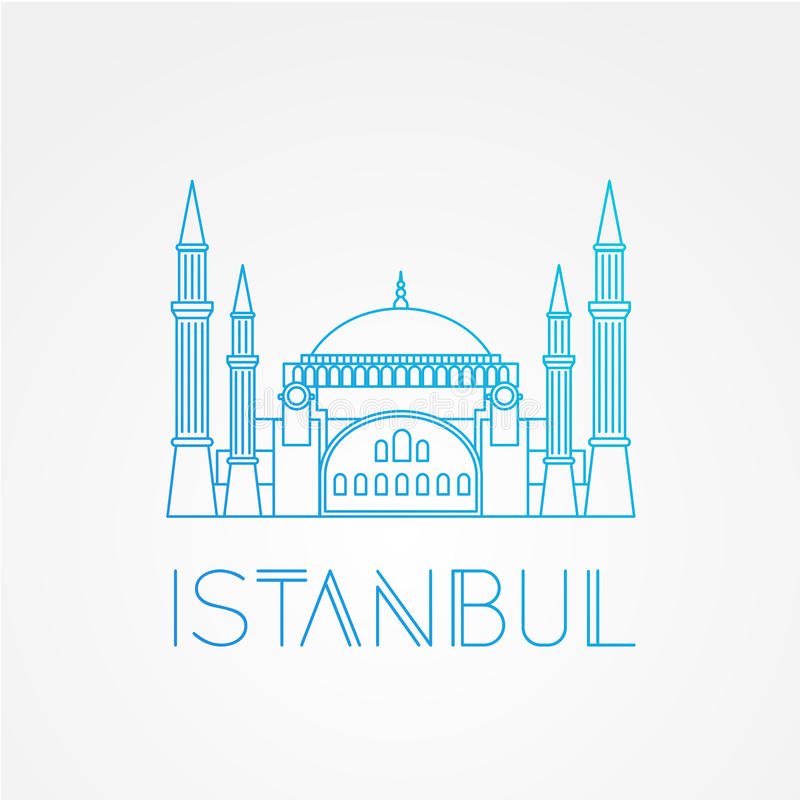 Hagia Sophia - the symbol of Turkey, Istanbul. Modern linear minimalist icon. One line sightseeing concept. Front view. royalty free illustration
