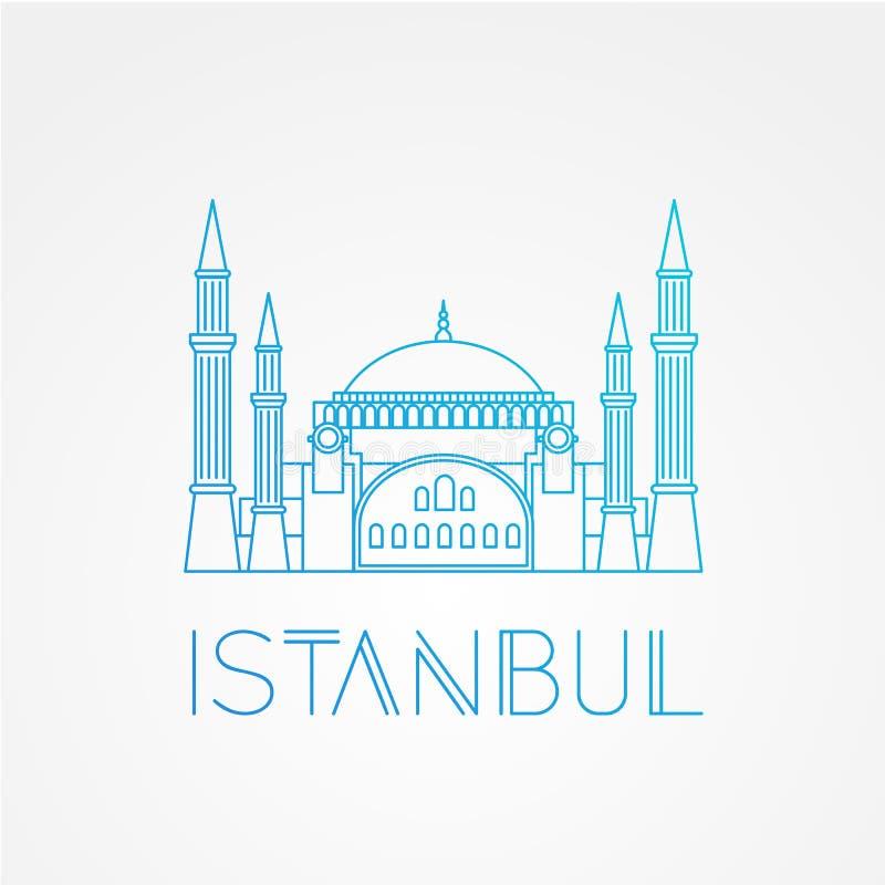 Hagia Sophia - symbolet av Turkiet, Istanbul Modern linjär minimalist symbol En linje sightbegrepp Bekläda beskådar royaltyfri illustrationer