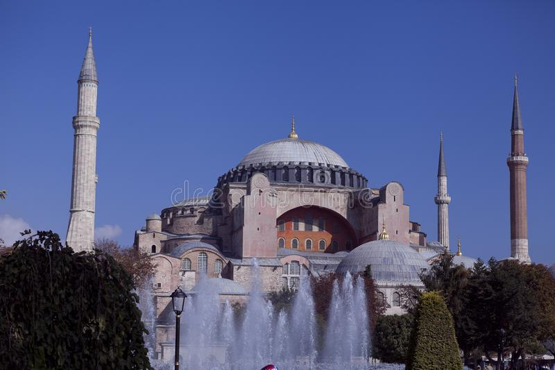 Hagia Sophia view from fountain royalty free stock photo