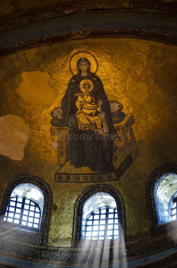 Hagia Sophia wnętrza, Mary, Macierzysty Mary i dziecko Jezusowy fresk,/ fotografia stock