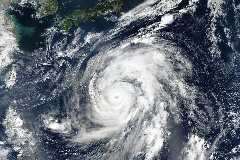 Hagibis super typhoon approaching the coast. The eye of the hurricane royalty free stock photos