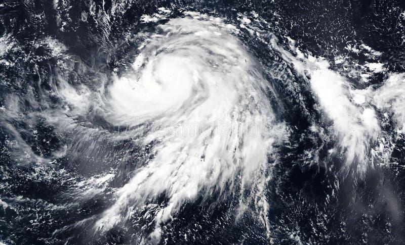 Hagibis super typhoon over Pacific ocean. The eye of the hurricane stock photography