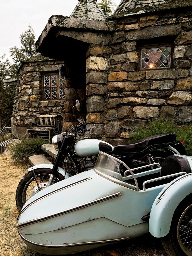 Hagrid-` s Motorrad und Hintergrund Haupt-Hagrid lizenzfreie stockbilder