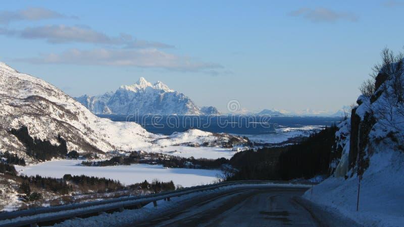 Hagskaret pass. The pass of hagskaret with the Vagakallen mountain on the background , Lofoten islands stock photos