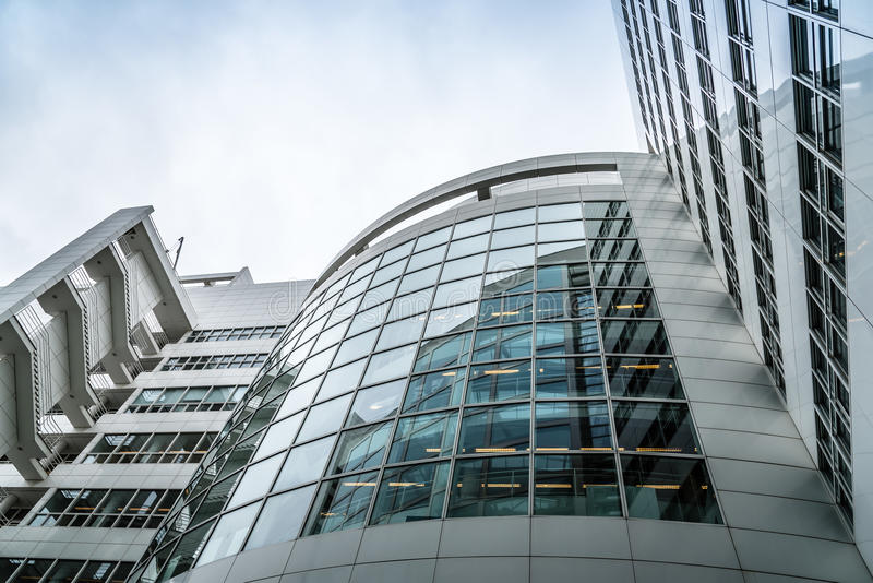 The Hague City Hall by American architect Richard Meier. Low angle view. The Hague, The Netherlands - August 7, 2016: The Hague City Hall. It was designed by royalty free stock photography