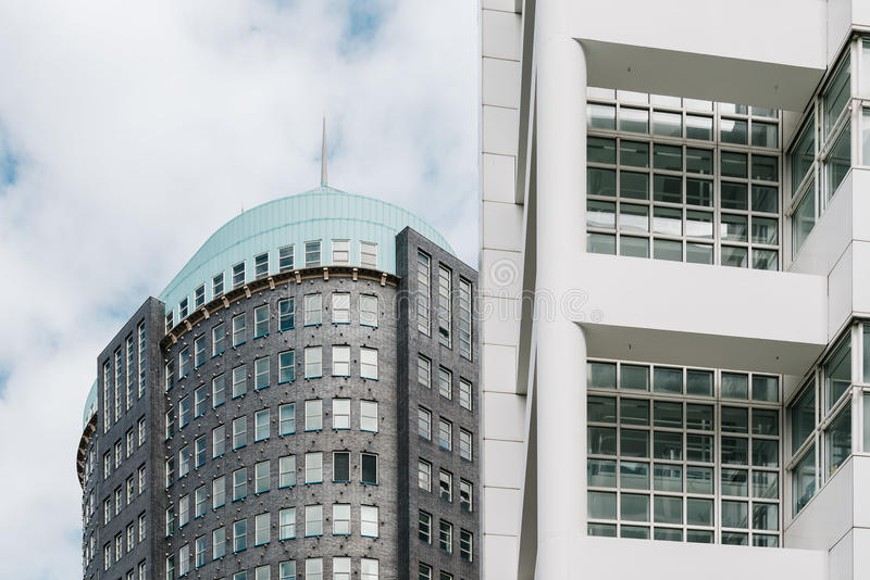 The Hague City Hall by American architect Richard Meier. Low angle view. The Hague, The Netherlands - August 7, 2016: The Hague City Hall. It was designed by stock photo