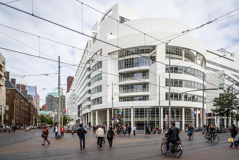 The Hague City Hall by American architect Richard Meier. Low angle view. The Hague, The Netherlands - August 7, 2016: The Hague City Hall. It was designed by royalty free stock images