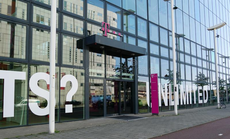 T-mobile headquarters in the Netherlands. The Hague, the Netherlands. August 2019. Entrance to t-mobile headquarters in the Netherlands, a telecommunications royalty free stock images