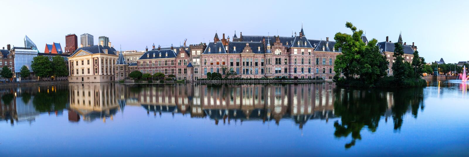 The hague netherlands evening reflections high definition panorama stock images