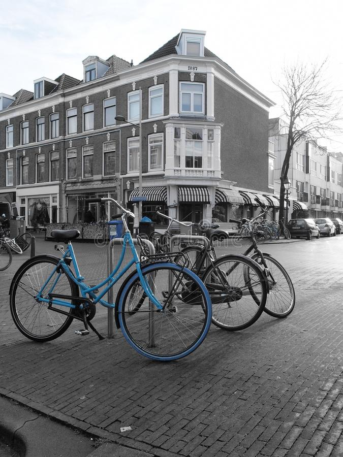 The Hague, Netherlands - January 28, 2019:  blue bicycle in a residential area of The Hague royalty free stock images
