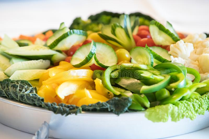 Healthy salad of pepper, fruit and vegetables stock image