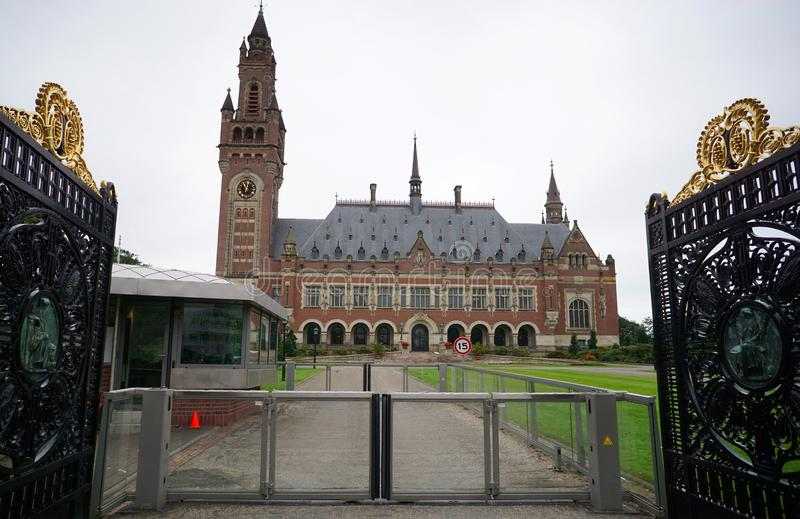 The gateway to the Peace Palace. Facade of an international law administrative building stock photography