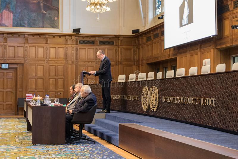 Minister speech icj international court of justice sign logo seal stock image